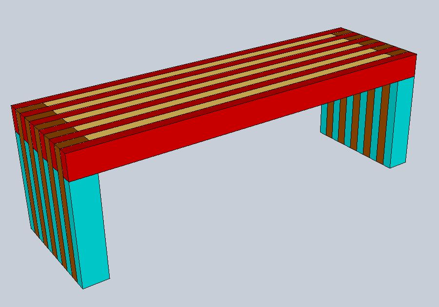 Sketchup model of the assembled entryway bench