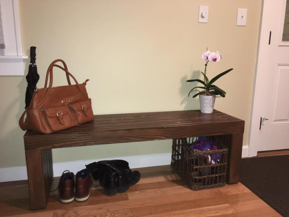 The finished bench in their home.
